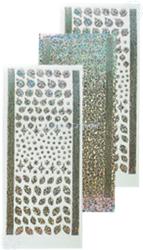 Picture of Stickers Christmas ornaments & holly diamond silver