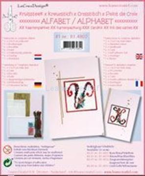 Afbeeldingen van Alfabet kruissteek kaartborduur kit met kraaltjes #1