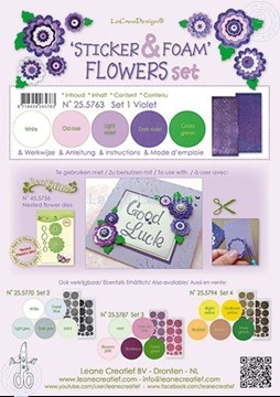 Afbeeldingen van Sticker &  Foam Flowers Set 1 Violet