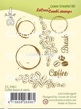 Picture of LeCreaDesign® combi clear stamp Coffee  Beans & Stains