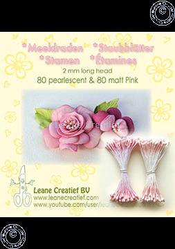 Afbeeldingen van Meeldraden 2mm,  80 matt & 80 pearl Pink