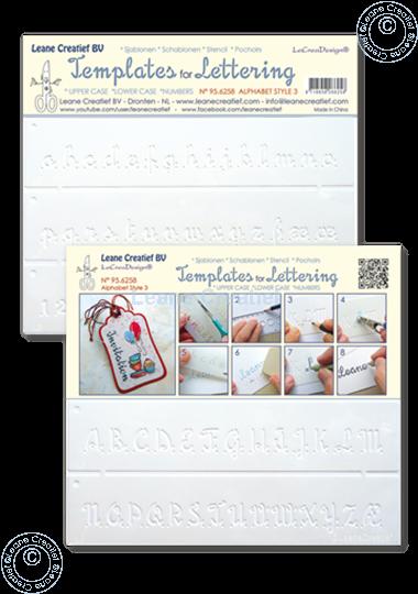Bild von 2 Schablonen für Handlettering Alphabet Nr. 3, Großbuchstaben + Kleinbuchstaben + Ziffer