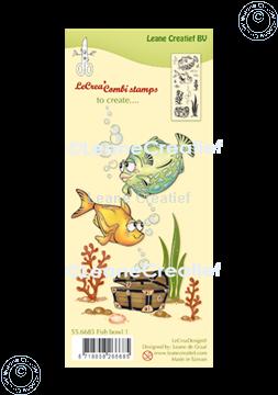 Afbeeldingen van LeCreaDesign® combi clear stamp Vissen 1.