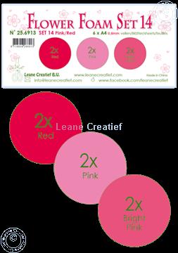 Afbeeldingen van Flower Foam set 14/6x A4 vel /3 tinten Pink-Rood