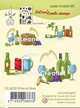 Picture of LeCreaDesign® combi clear stamp Wine and Beer