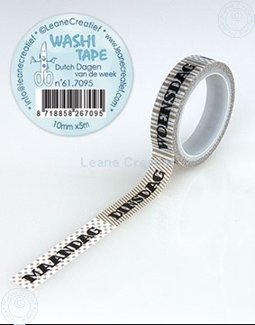 Picture of Washi tape Dutch Dagen van de Week, 10mm x 5m.