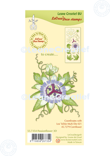 Picture of LeCreaDesign® combi clear stamp Passion Flower 3D