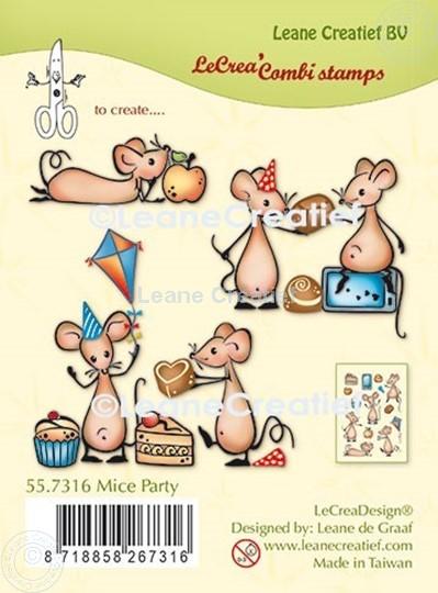 Afbeelding van LeCreaDesign® combi clear stamp Muizen party