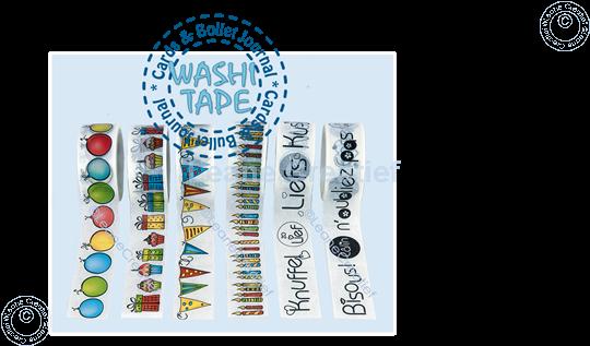 Afbeelding van Washi tape ronde labels, 20mm x 5m.