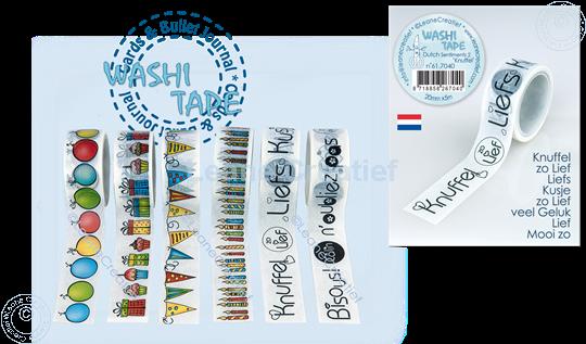 Image sur Washi tape Texte Néerlandais 2. Knuffels 20mm x 5m.