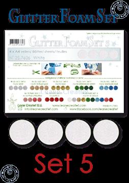 Picture of Glitter Foam set 5, 4 sheets A4 White