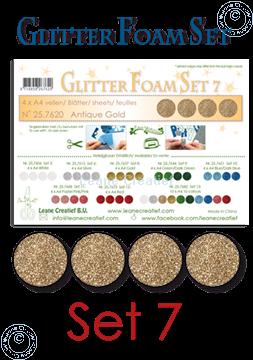 Picture of Glitter Foam set 7, 4 sheets A4 Antique gold