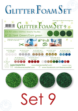 Picture of Glitter Foam set 9, 4 sheets A4 2 green & 2 dark green