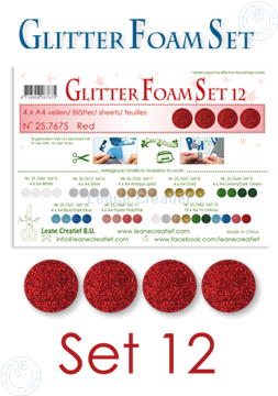 Picture of Glitter Foam set 12, 4 sheets A4 Red